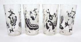 Fiesta go-along set of 4 glass tumblers with dancing