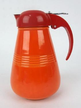 Fiesta Harlequin syrup pitcher, red