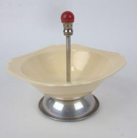 Fiesta Riviera ivory tidbit bowl with glass ball handle