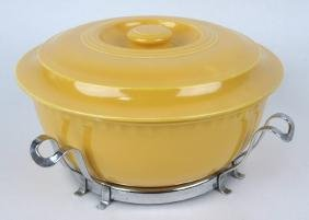 Fiesta yellow promotional casserole with chrome holder