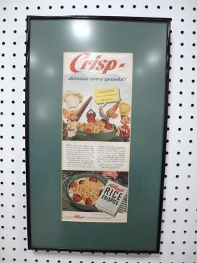 Framed advertisement for Kellogg's Rice Krispies