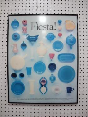 """Framed Fiesta poster artist signed """"Kathleen Wilmes"""