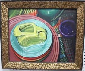 "Oil on canvas ""Fiesta"", artist signed"