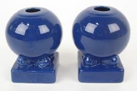 Fiesta bulb candle holder, pair, cobalt