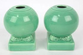 Fiesta bulb candle holder, pair, green