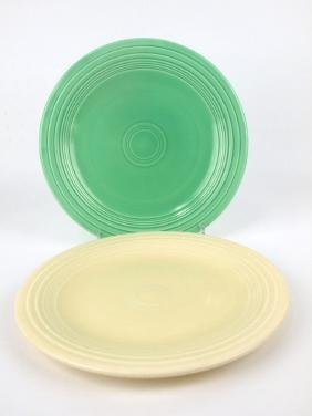 "Fiesta 10"" plate group: green & ivory"