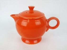 Fiesta large teapot, red, hairline to spout