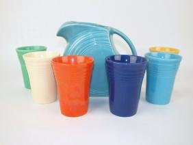 Fiesta 7 piece water set: turquoise disc water pitcher