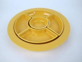 Fiesta relish tray, all yellow, nick to one side insert
