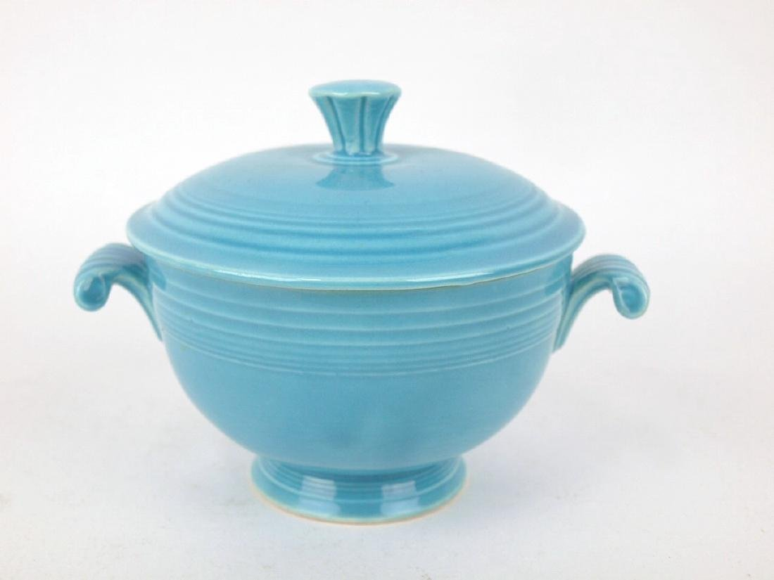 Fiesta covered onion soup bowl, turquoise