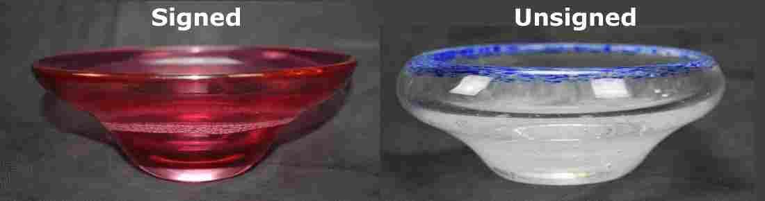 2x J Bernek Studio Glass bowls One SIGNED