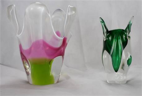 CHRIBSKA | Hospodka | 2x Vases | Czech Glass