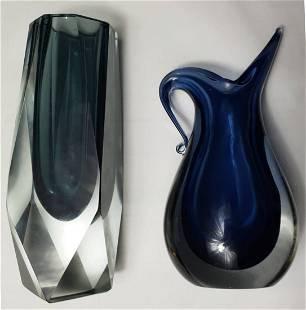 2x Sommerso | Murano | Block Vase & Jug