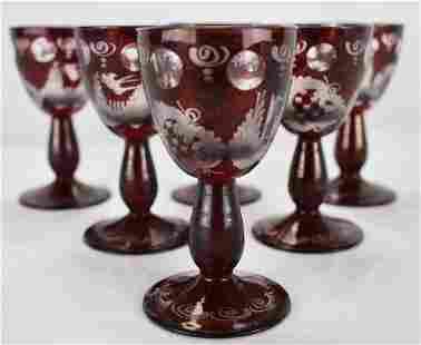 Egermann Liqueur Glasses Bohmeian Glass 6 Vessels