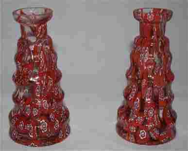 2x Murano Millefiori Vases 1920s