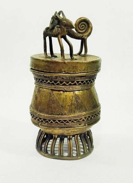 Ashanti Gold Dust Box | Ghana | Brass