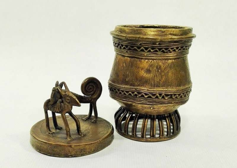 Ashanti Gold Dust Box | Ghana | Brass - 3