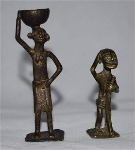2 Late 19th C Krobo Ashanti Brass Gold Weights