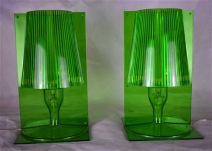 Kartell Take Lamps Pair Green