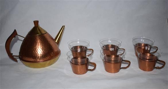 Tea Set Teapot 6 glasses Manner of Aubck