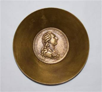 Carl Aubock II Brass Bowl 1781 Medal Duvivier