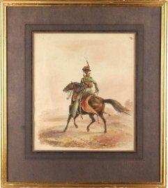 Franz Joseph Manskirsch | AUSTRIAN HUSSAR | Watercolor