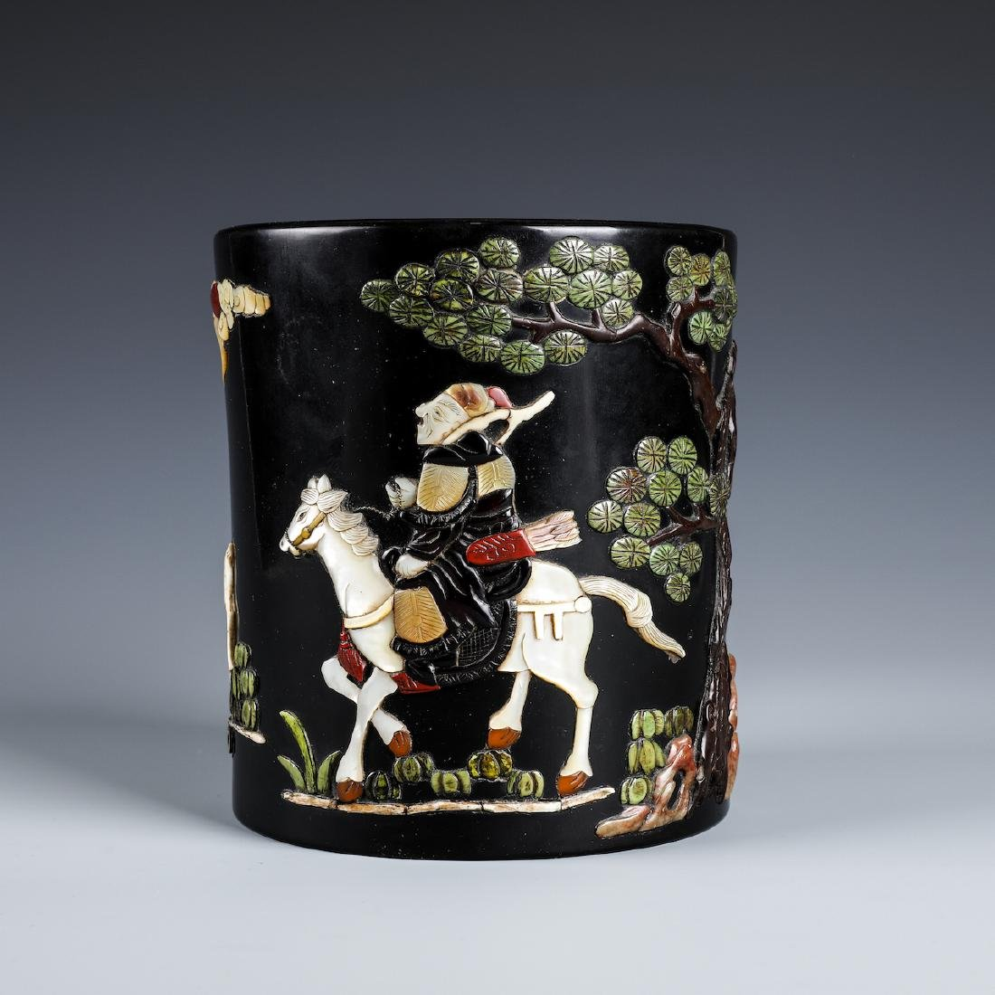 A CHINESE INLAID BLACK LACQUER BRUSH POT W/INSCRIPTION