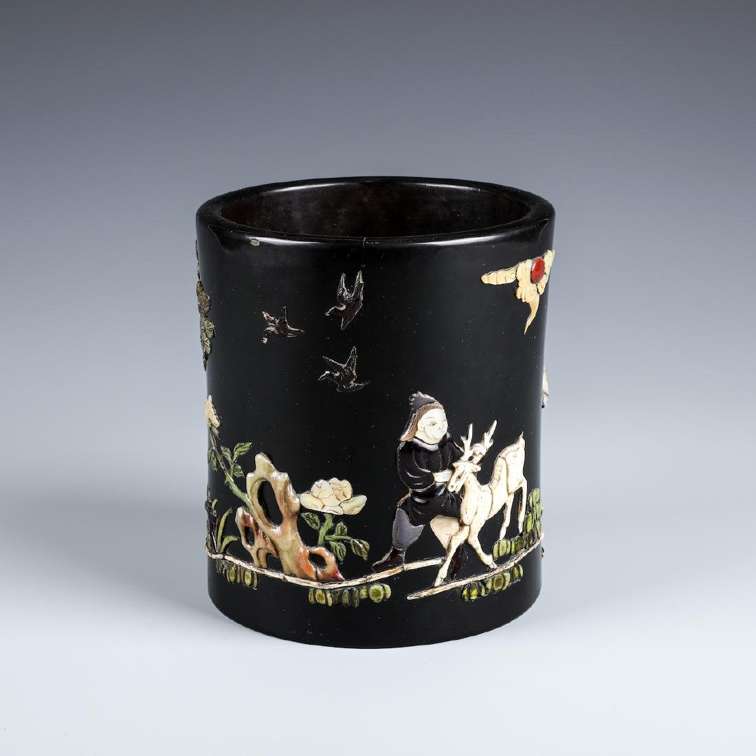 A CHINESE INLAID BLACK LACQUER BRUSH POT W/INSCRIPTION - 2