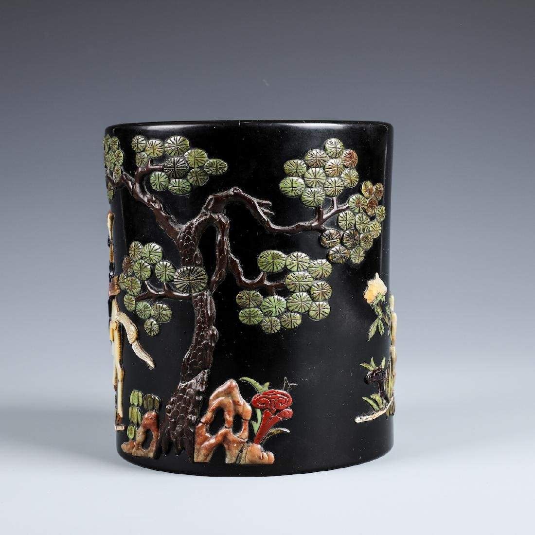 A CHINESE INLAID BLACK LACQUER BRUSH POT W/INSCRIPTION - 3