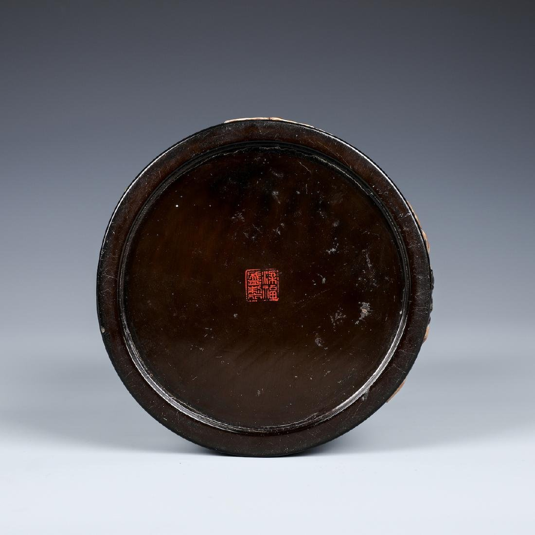 A CHINESE INLAID BLACK LACQUER BRUSH POT W/INSCRIPTION - 4