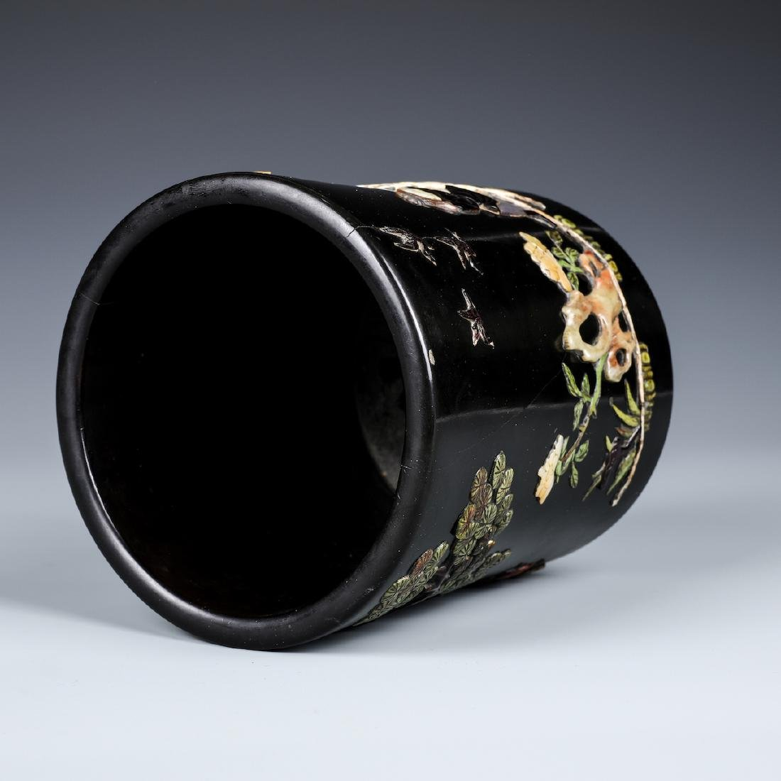 A CHINESE INLAID BLACK LACQUER BRUSH POT W/INSCRIPTION - 5