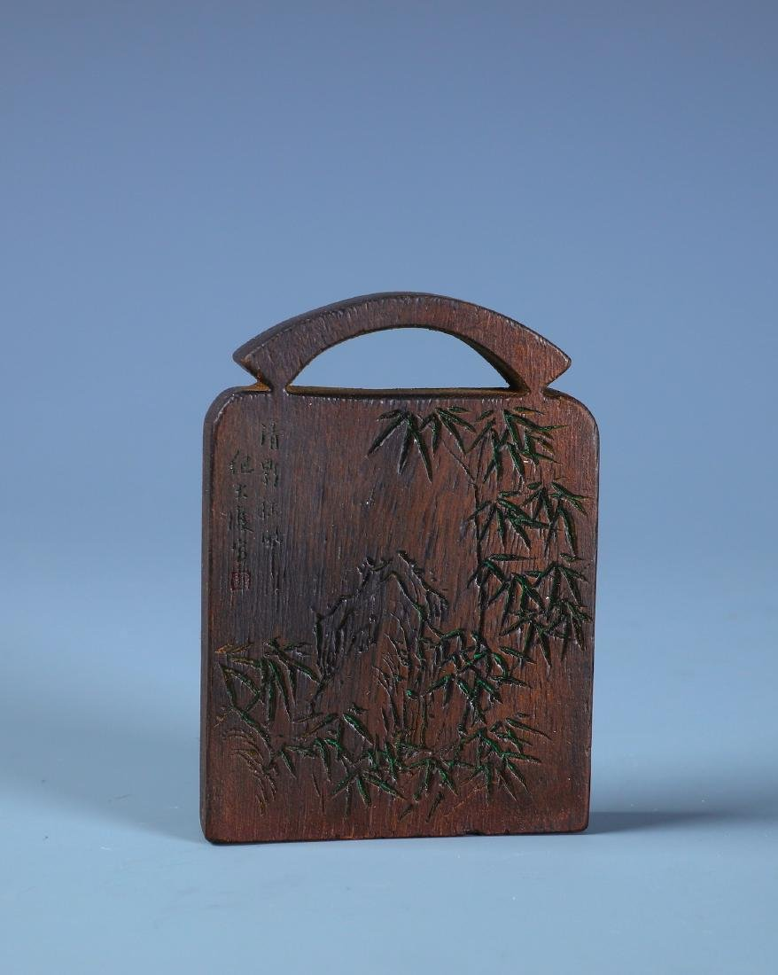A FINELY CARVED ALOESWOOD BAMBOO PLAQUE WITH