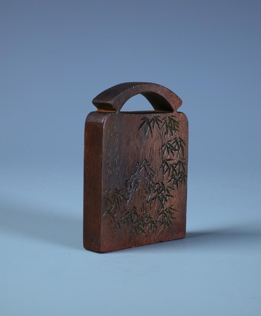 A FINELY CARVED ALOESWOOD BAMBOO PLAQUE WITH - 2