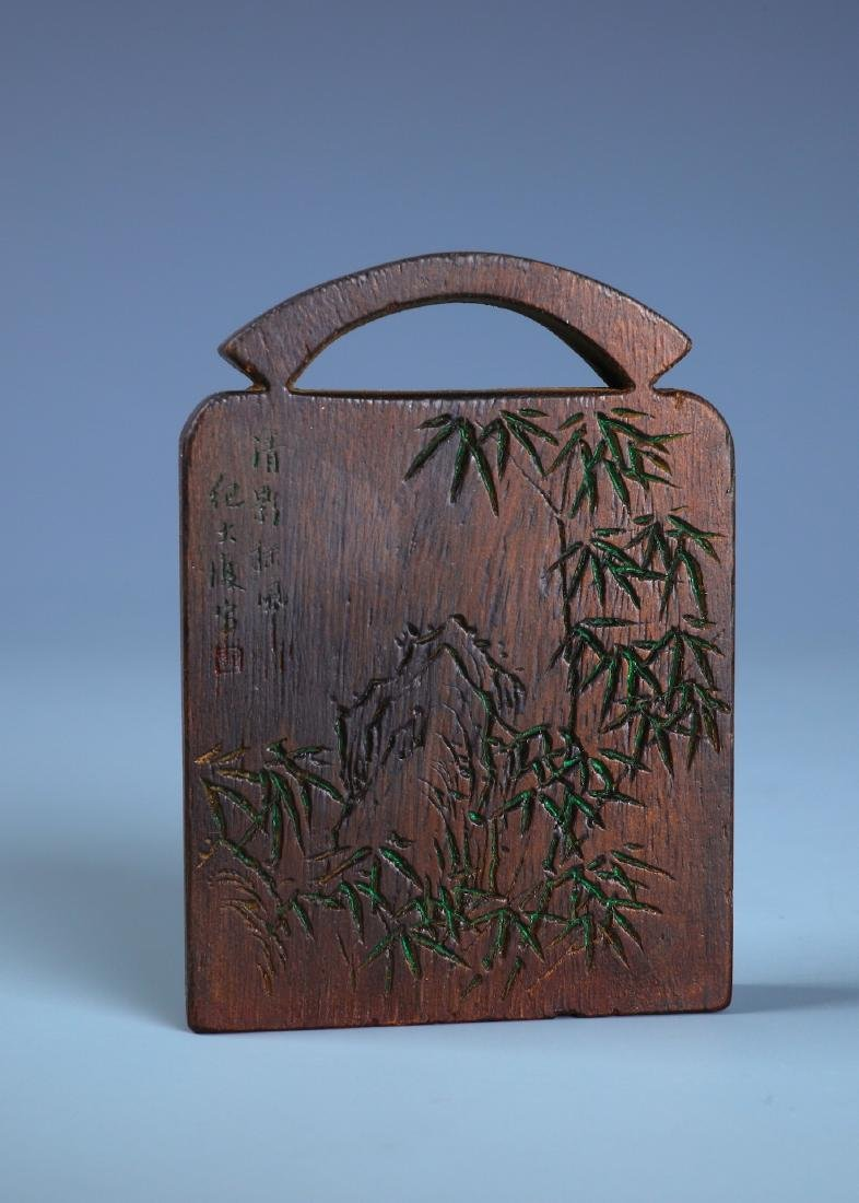 A FINELY CARVED ALOESWOOD BAMBOO PLAQUE WITH - 5