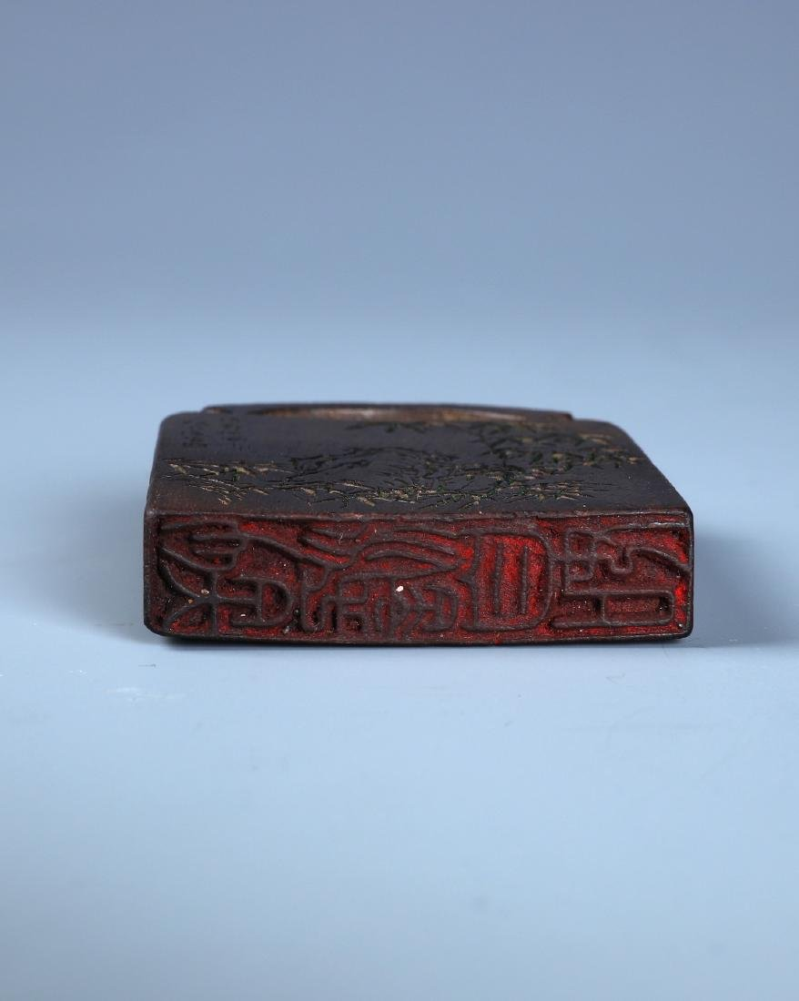 A FINELY CARVED ALOESWOOD BAMBOO PLAQUE WITH - 7