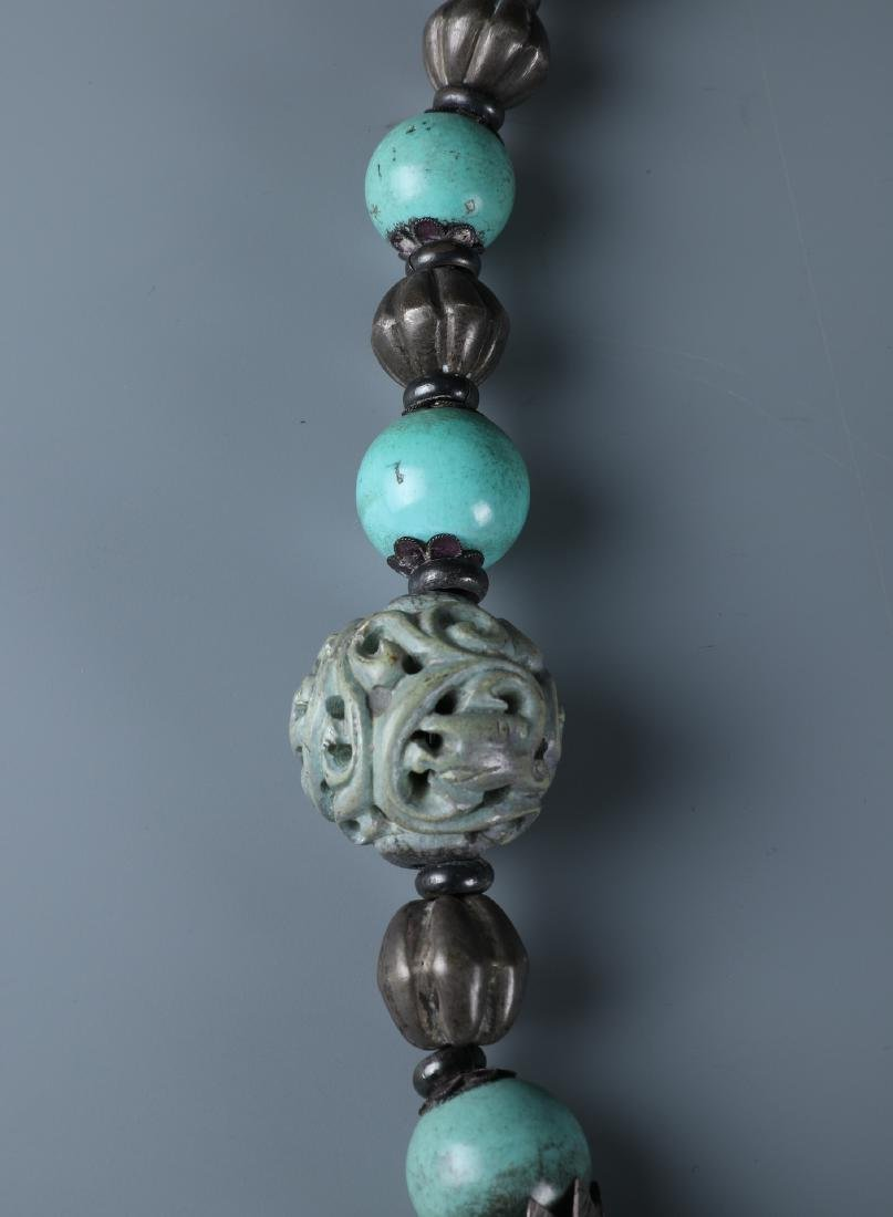 A SILVER AND CARVED TURQUOISE BEADS NECKLACE WITH QILIN - 5