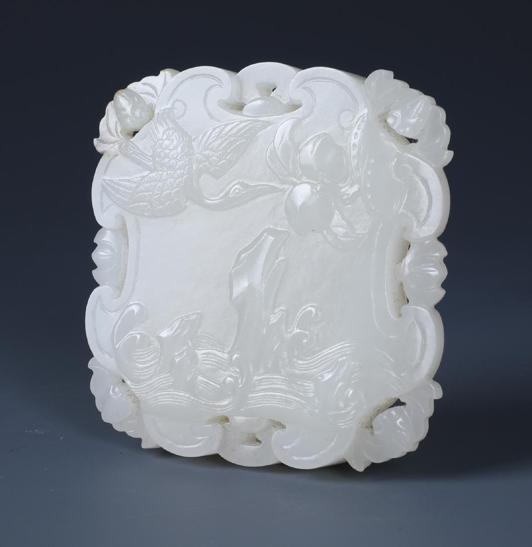 A RARE AND FINELY CARVED CHINESE WHITE JADE 'PEACH, - 2