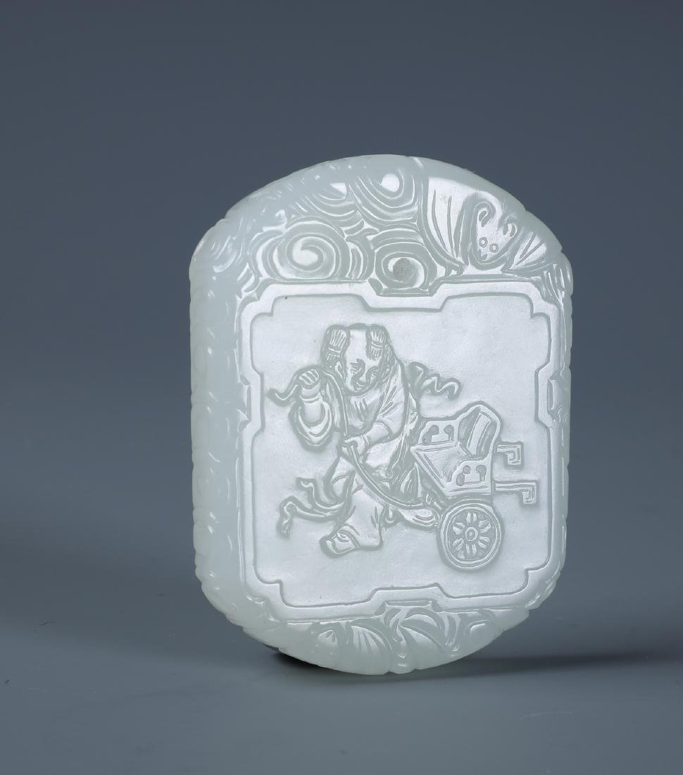A CHINESE CARVED WHITE JADE BOY PENDANT PLAQUE - 4