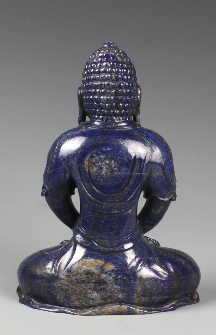 A CHINESE CARVED LAPIS FIGURE OF AMITAYUS WITH CINNABAR - 8