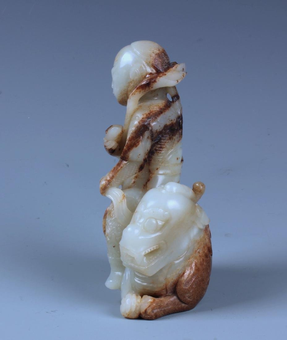 A FINELY CARVED CHINESE WHITE AND RUSSET JADE - 4