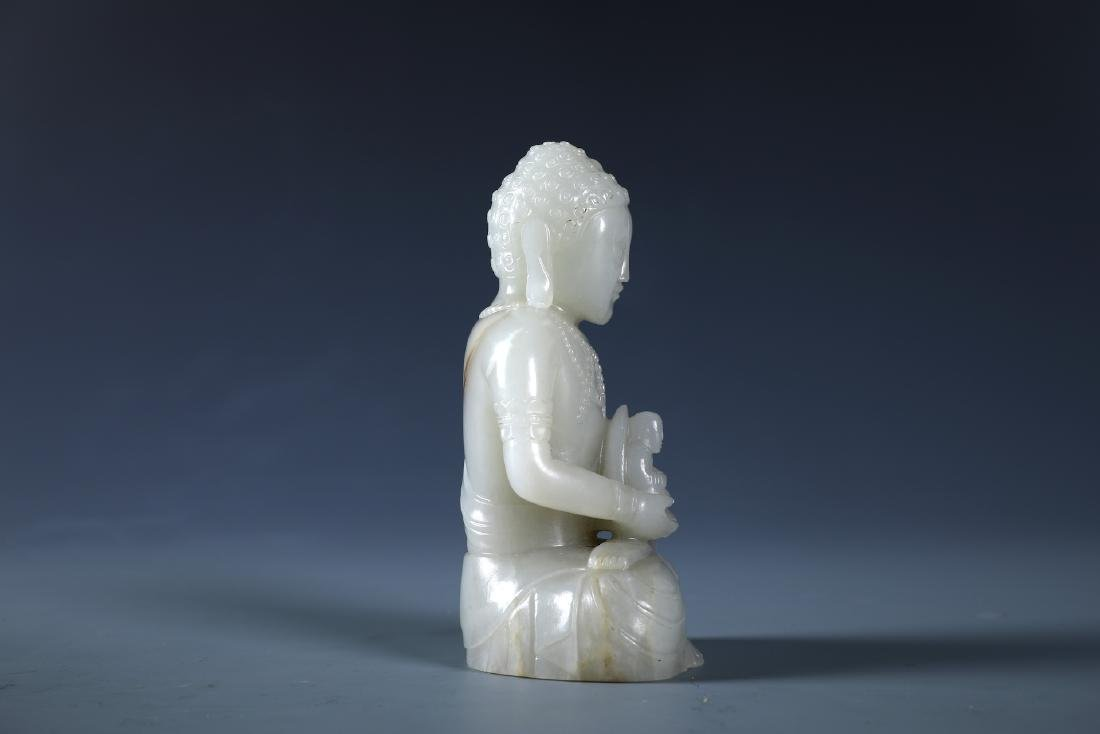 A CARVED CHINESE WHITE JADE FIGURE OF SAKYAMMUNI - 4