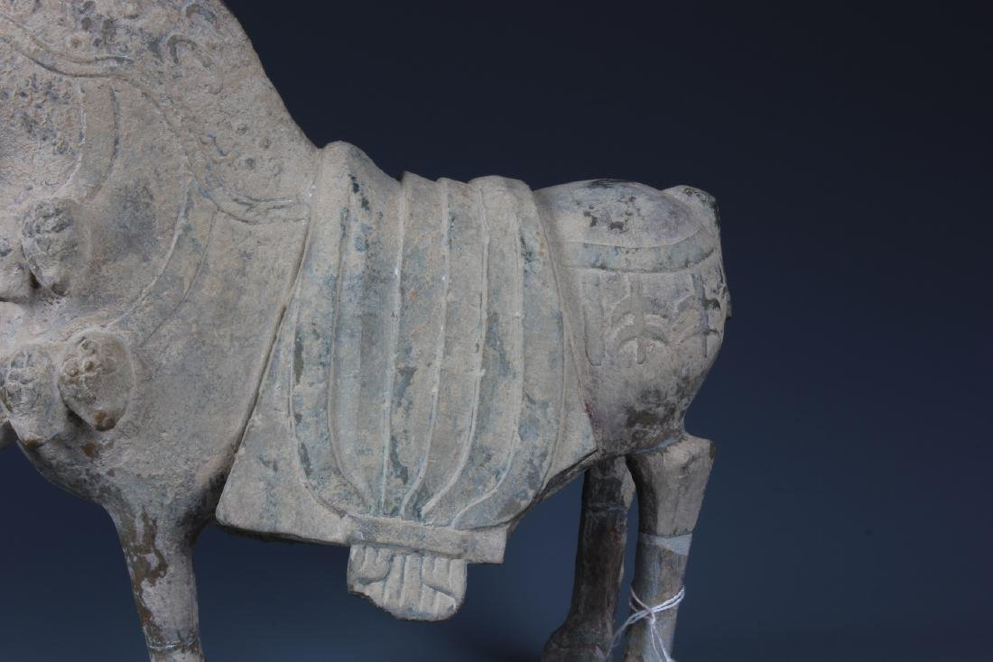 A FINELY CARVED CHINESE STONE FIGURE OF HORSE - 4