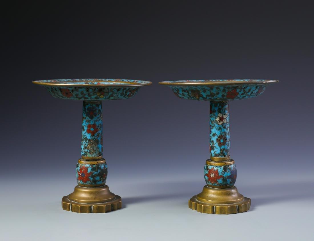 Pr Chinese Gilt Bronze and Cloisonne Enamel