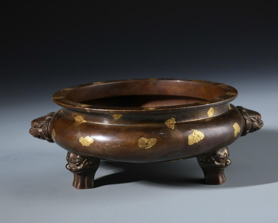 A Fine Chinese Gold-Splashed Bronze Censer with Twin