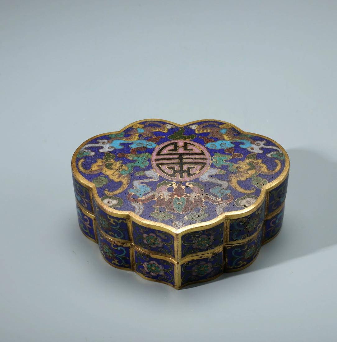 A Fine Chinese Gilt Bronze and Cloisonne Enamel  Ruyi