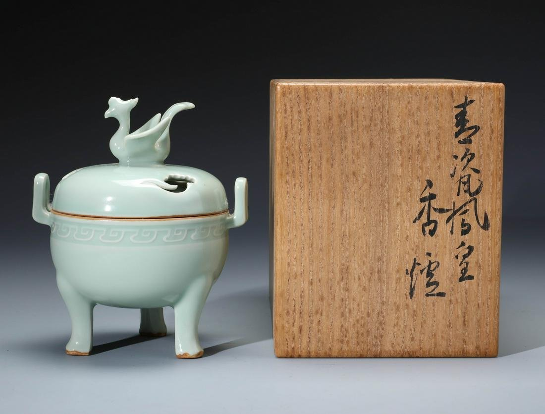 An Exquisite Chinese Celadon Glazed Tripod Censer and