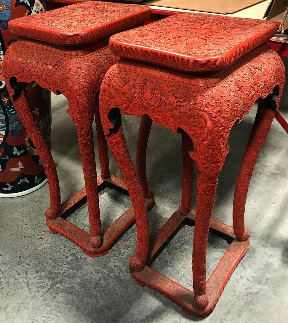 Pr Chinese Red Lacquer Cinnabar Dragon Table Stand