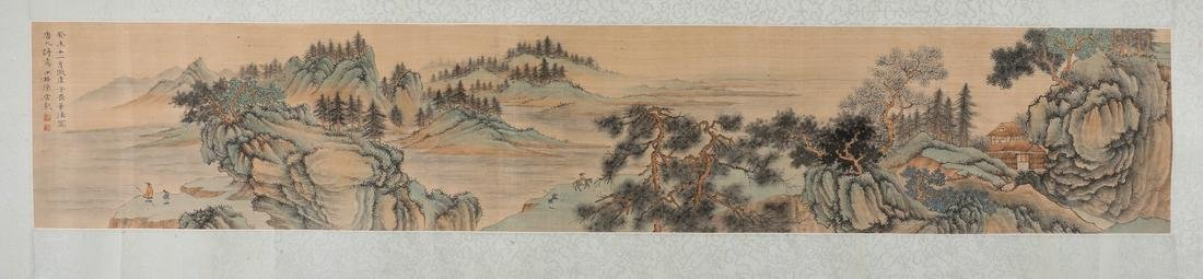A Fine Chinese Hand-drawn Painting Scoll of Landscape