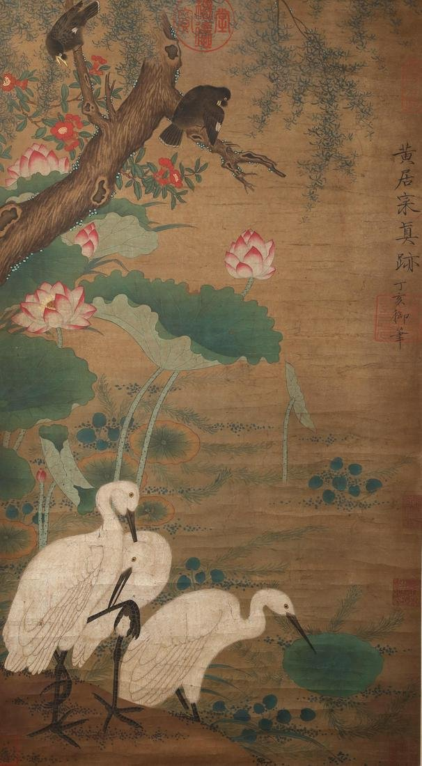A Fine Chinese Hand-drawn Painting of Cranes Along the