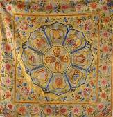 An Imperial Chinese Yellow Ground Silk Embroidery of